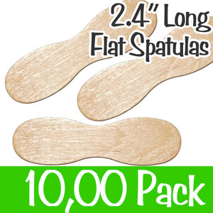 "2.4"" Long Flat Spatulas 100 Bags of 100 = Case of 10000 (60mm)"