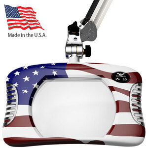 "Green-Lite - 7"" x 5.25"" American Flag Rectangular LED Magnifier - 43"" Reach - Fully Dimmable with 3 Bank LED Adjustability Available with 5 Base Options (82X00-4-USA)"