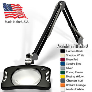 "Green-Lite - 7"" x 5.25"" Rectangular LED Magnifier - 43"" Reach - Fully Dimmable with 3 Bank LED Adjustability Available in 10 Colors + 5 Base Options (82X00-4)"
