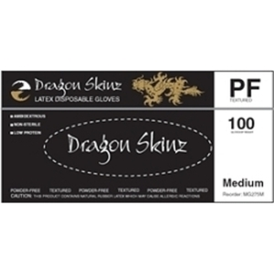 Dragon Skinz Black Powder-Free Latex Exam Gloves