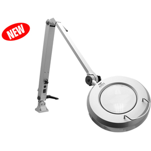 "ProVue Deluxe Magnifying Lamp LED 5"" 5-Diopter Round Crystal-Clear Glass Lens - 2.25x Magnification"