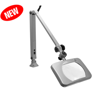 "Mighty Vue Deluxe Magnifying Lamp LED 7"" 5-Diopter Crystal-Clear Glass Lens - 2.25x Magnification"