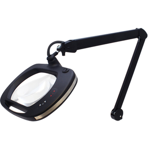 "Mighty Vue Pro 5D Magnifying Lamp with Color Temperature Controls - ESD Safe Large 7.5"" x 6.2"" 5-Diopter Crystal-Clear Glass Lens - 2.25x Magnification"