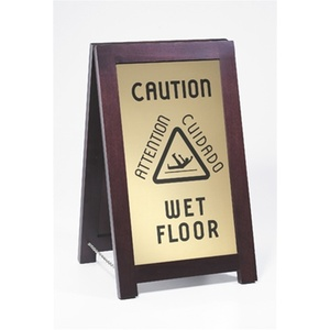 Caution Wet Floor Sign - Wood + Engraved Gold Plates (851-WET)