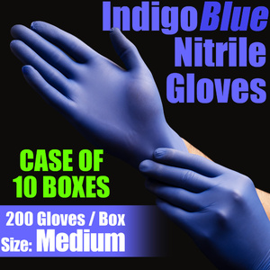 IndigoBlue Nitrile Exam Gloves Powder-Free Non-Sterile Nitrile Examination Gloves Size Medium 200 per Box X 10 Boxes = Case of 2000 Gloves (MG505M-CASE)