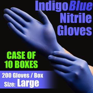 IndigoBlue Nitrile Exam Gloves Powder-Free Non-Sterile Nitrile Examination Gloves Size Large 200 per Box X 10 Boxes = Case of 2000 Gloves (MG505L-CASE)