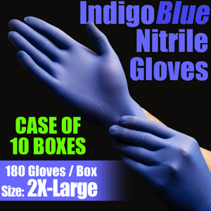 IndigoBlue Nitrile Exam Gloves Powder-Free Non-Sterile Nitrile Examination Gloves Size 2X-Large 180 per Box X 10 Boxes = Case of 1800 Gloves (MG505XXL-CASE)