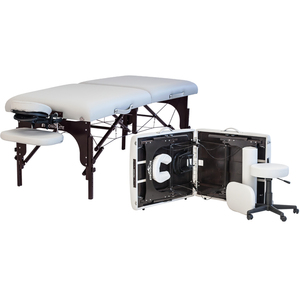 "Premier Portable Massage Table - Ultimate Package Includes Table + FlexRest Headrest + Deluxe Carrying Case + Hanging Arm Support + 6"" Round Bolster (NP1)"