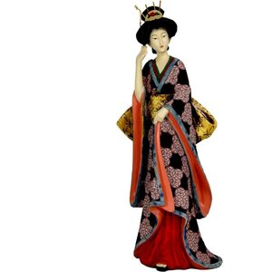 "14"" Geisha Figurine with Ivory Flower Sash (STA-GSH8)"