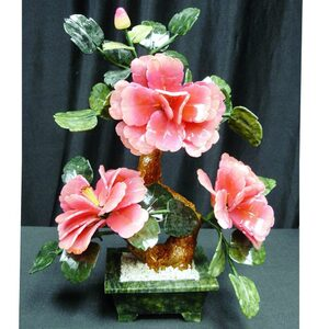 "13"" Ming Jade Potted Flower with Rose Petals (GFT_JAD_SA2023D)"