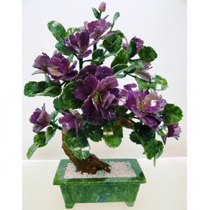 "22"" Ming Jade Potted Flower with Lavender Blossoms (GFT_JAD_SA20A5)"