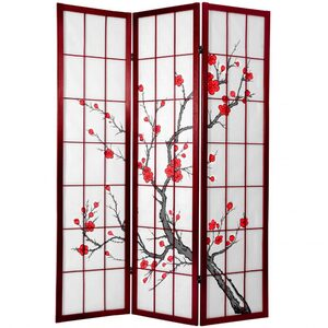 "6 ft. Tall Cherry Blossom Shoji Screen - Rosewood 3 Panels - Size - 42""W x 71""H (folded as shown) (CBLSS-RWD)"
