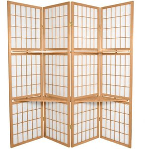 6 ft. Tall Window Pane Room Divider with Shelves - Natural Honey Rosewood or Black 4 Panels (SS-WPSHEL)