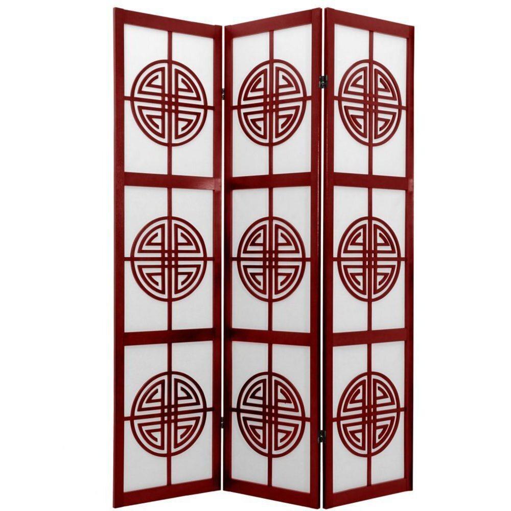 6 Ft Tall Long Life Shoji Screen Room Divider Natural Rosewood Or