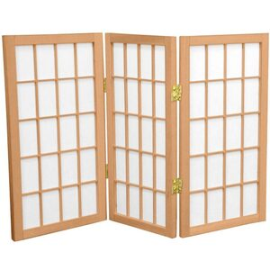 2 ft. Tall Desktop Window Pane Shoji Screen - Natural Honey Rosewood Black Walnut or White 3 Panels 4 Panels 5 Panels 6 Panels or 8 Panels (WP24)