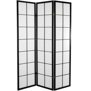 6 ft. Tall Japanese Shoji Room Divider - Black 3 Panels (SSFWSC04)