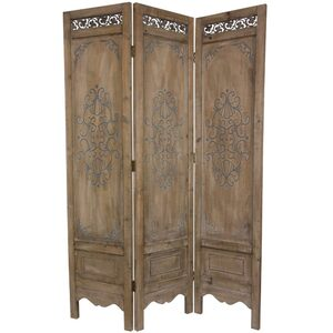 6 ft. Tall Antiqued Scrollwork Room Divider 3 Panels (MN-SCRN7)