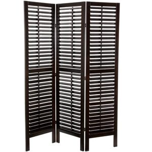 6 ft. Tall Double Shutter Room Divider - Walnut 3 Panels (SSFWSC18)