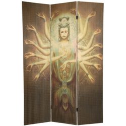 6 ft. Tall Thousand Arm Kwan Yin Bamboo Room Divider 3 Panels (SSPF09-17)