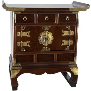 Asian Antique Style End Table Cabinet - 3 Drawers (KRN-B-1)