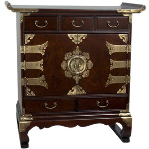 Asian Antique Style End Table Cabinet - 5 Drawers (KRN-B-5)