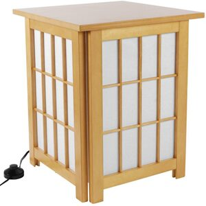"19"" Hokkaido End Table Shoji Lamp - Natural Honey Rosewood or Black (ACET)"