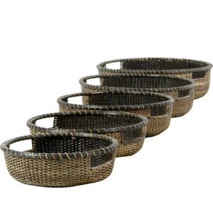 Nesting Low Rattan Basket Trays - Antique Finish Set of 5 (RV-B157)