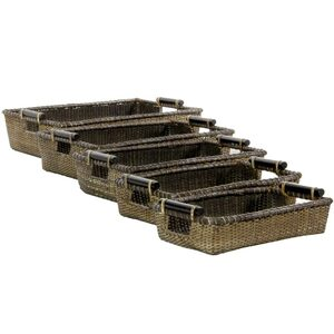 Nesting Rattan Open Totes with Pole Handles Set of 5 (RV-B144)