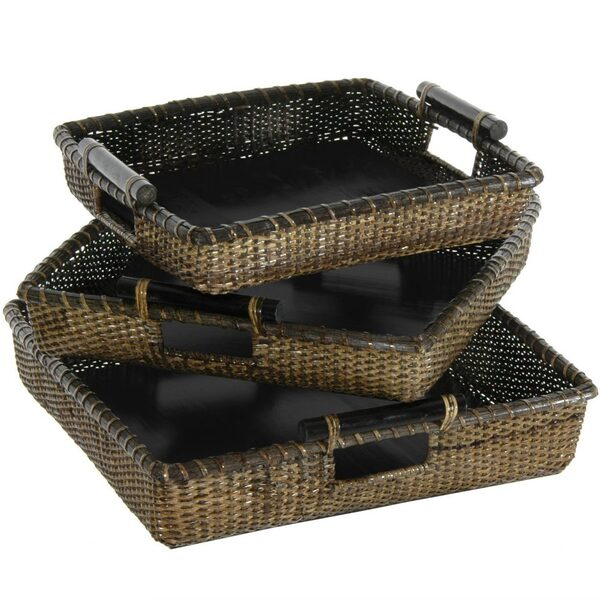 Nesting Square Rattan Totes with Pole Handles Set of 3 (RV-B180)
