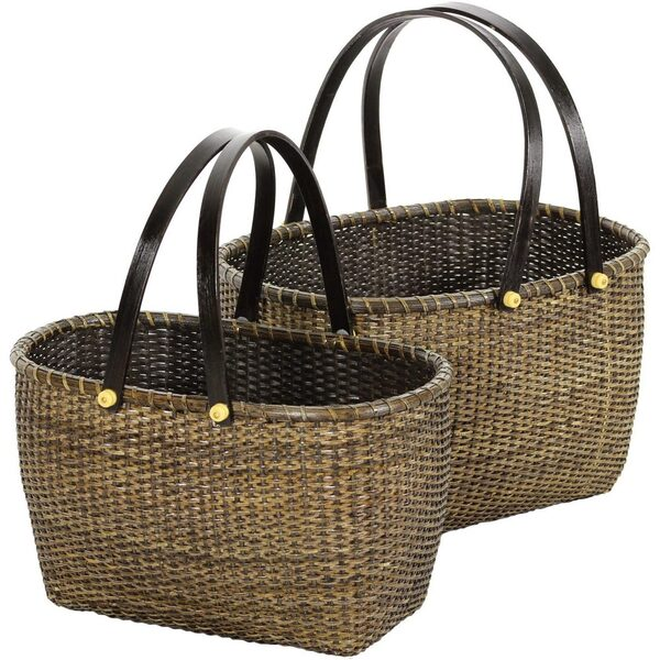 Nesting Rattan Open Storage Baskets with Handles Set of 2 (RV-B89)