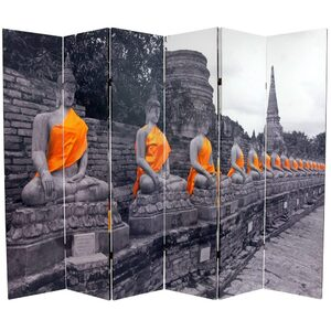 6 ft. Tall Double Sided Golden Buddhas Room Divider 6 Panels (CAN-BUD3)