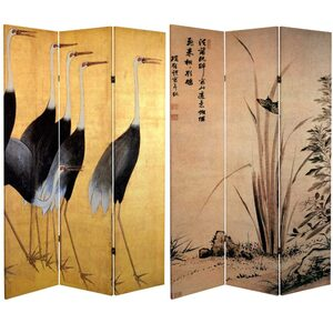 6 ft. Tall Double Sided Cranes Room Divider 3 Panels (CAN-CRANE)
