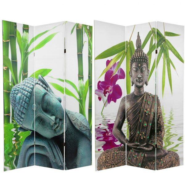 6 ft. Tall Double Sided Serenity Buddha Room Divider 3 Panels (CAN-BUD2)