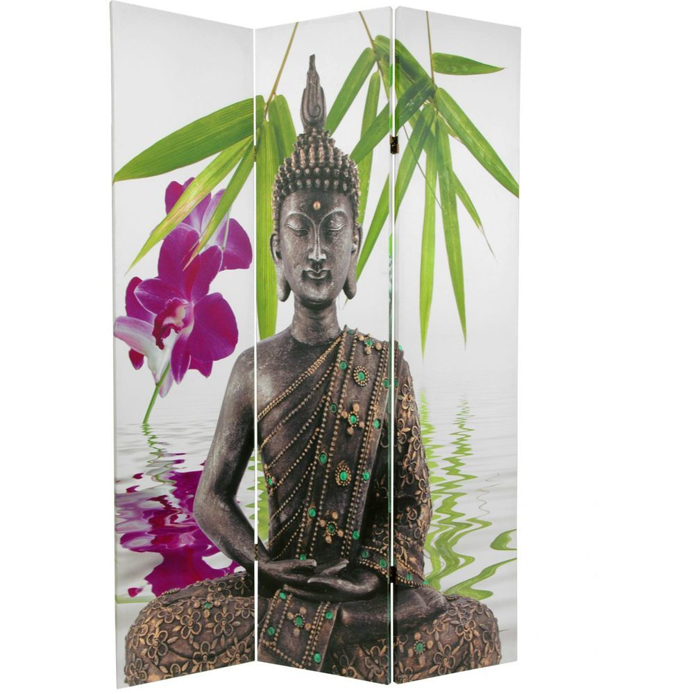 6 ft Tall Double Sided Serenity Buddha Room Divider 3 Panels CAN BUD2