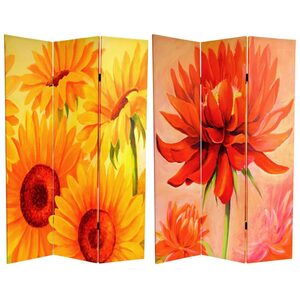 6 ft. Tall Double Sided Poppies and Sunflowers Canvas Room Divider 3 Panels (CAN-POPPY)