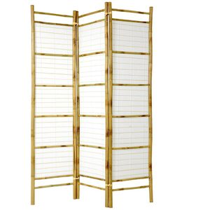 6 ft. Tall Burnt Bamboo with Rice Paper Shoji Screen 3 Panels (SSCBBRP)