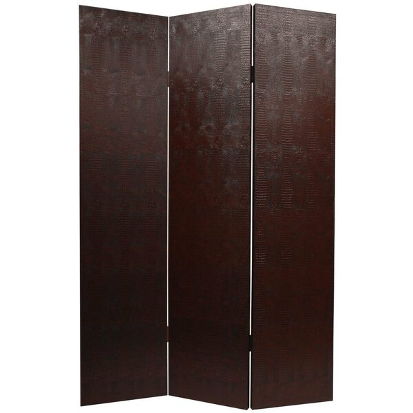 6 ft. Tall Faux Leather Brown Snakeskin Room Divider 3 Panels (L-SNAKE-BRN)