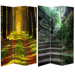 6 ft. Tall Double Sided Trail of Joy Canvas Room Divider 3 Panels (CAN-PATH2)