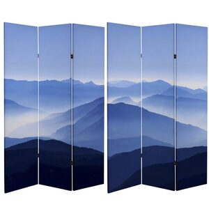 6 ft. Tall Double Sided Misty Mountain Canvas Room Divider 3 Panels (CAN-VALLEY)
