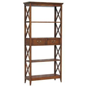 "Birch Display Book Case Shelf Unit - Stained Birch 35.5""W x 14""D x 75""H (WB-9106)"