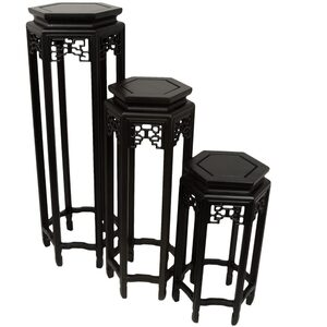"Set of Three Rosewood Hexagon Plant Stands - 20"" 28"" and 36"" Tall (ST-SET3)"