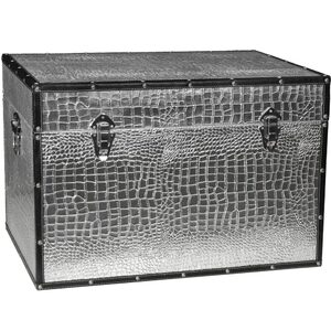 "Faux Leather Silver Crocodile Storage Trunk 24""W x 16""D x 16""H (CAN-TRNK-SLV)"