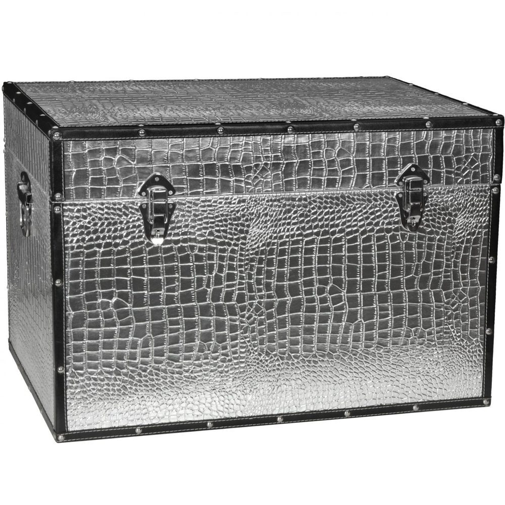 Faux Leather Silver Crocodile Storage Trunk 24 W x 16 D x 16 H (CAN-TRNK-SLV)  sc 1 st  Pure Spa Direct & Faux Leather Silver Crocodile Storage Trunk 24