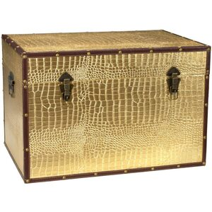 "Faux Leather Gold Crocodile Storage Trunk 24""W x 16""D x 16""H (CAN-TRNK-GLD)"