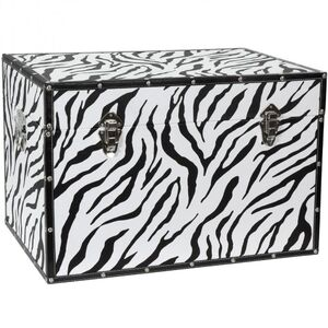 "Faux Leather Zebra Trunk 24""W x 16""D x 16""H (CAN-TRNK-ZEB)"