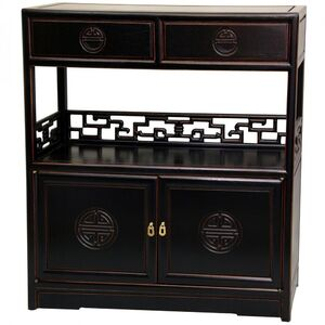 Rosewood Long Life Display Shelf Cabinet - Antique Black Finish (ST-PJ119A-AB)