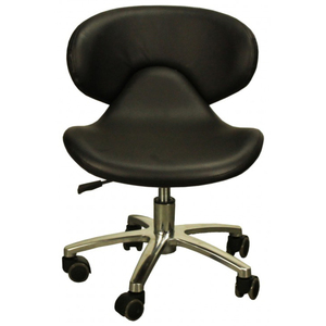 "The Orsola Pedicure Stool- Black Seat Height 13.25""-16"" (FC1001-618P)"