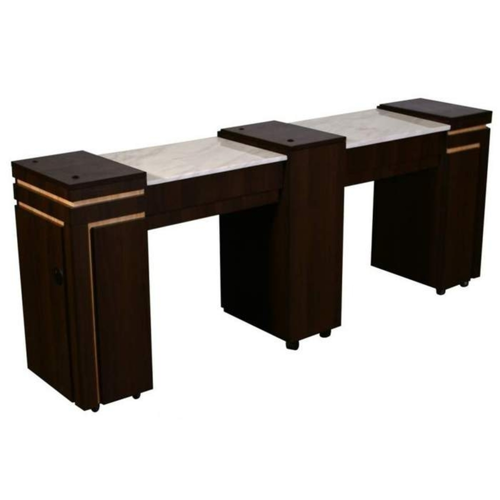 Carina c double manicure table half marble top ft505c