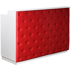 "The Elizabeth Reception Desk - 60"" Wide - White Structure Red Façade (SF1121WR)"