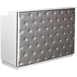 "The Elizabeth Reception Desk - 60"" Wide - White Structure Silver Façade (SF1121WS)"